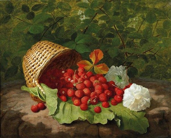 Корзина земляники, 1864. Уильям Хаммер (1821-1889), датский художник, специализировался на натюрмортах с цветами и фруктами.