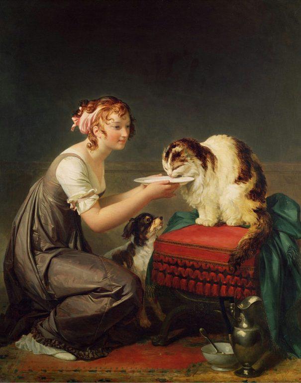 Кошачий обед. Девушка, дающая молоко своей кошке. Маргерит Жерар (фр. Marguerite Gérard; 1761- 1837), французская художница, ученица Фрагонара.