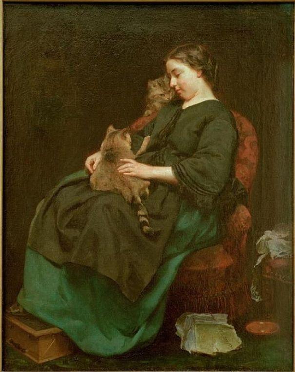 Кошачья мама, 1856. Людвиг Кнаус (нем. Ludwig Knaus; 1829—1910), немецкий художник; согласно статье в «ЭСБЕ» А. И. Сомова: «самый значительный живописец-жанрист в Германии, один из лучших представителей новой дюссельдорфской школы»[2].
