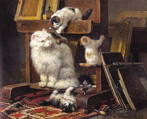Кошачье семейство в мастерской, 1878. Генриетта Роннер-Книп (1821-1909), бельгийская художница