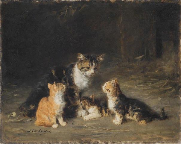 ошка и три котенка, 1892. Холст, масло. Луис Ламберт, французский художник. Художественный музей Филадельфии, США