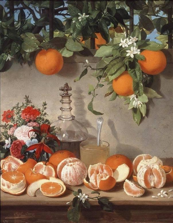 Натюрморт с апельсинами , ок. 1863. Рафаэль Ромеро Баррос (1832-1895), испанский художник