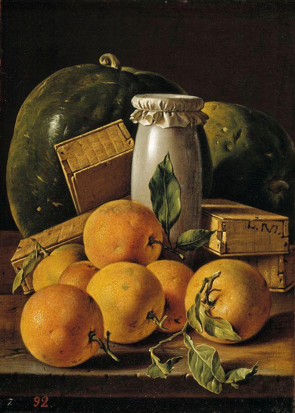 Натюрморт с апельсинами, арбузами и коробками конфет. Луис Мелендес (1716-1780), испанский художник, продолжатель лучших традиций мастеров испанского натюрморта.