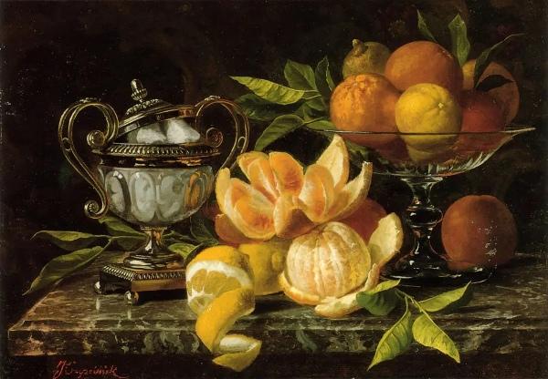 Натюрморт с апельсинами и лимонами. Жан Капейник (Jean Capeinick, 1838-1890), бельгийский художник