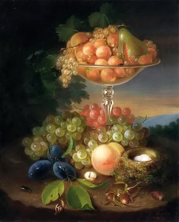 Натюрморт с фруктами, гнездом и насекомыми, 1869. Музей искусств, Анн-Арбор, Мичиган. Джордж Форстер (1817-1896), известный американский мастер натюрморта, родившийся в Германии.