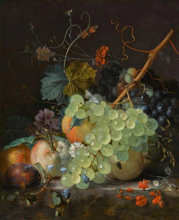 Натюрморт с фруктами на мраморном столе. Ян ван Хёйсум (1682 - 1749), нидерландский художник
