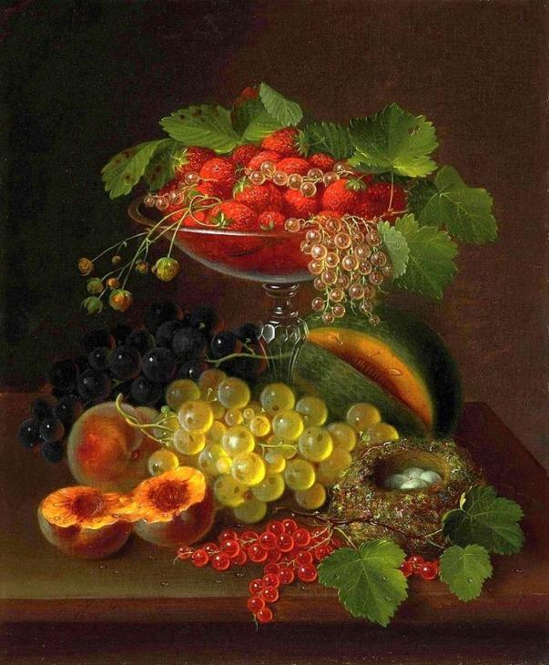 Натюрморт с ягодами и птичьим гнездом. Джордж Форстер (1817-1896), американский мастер натюрморта
