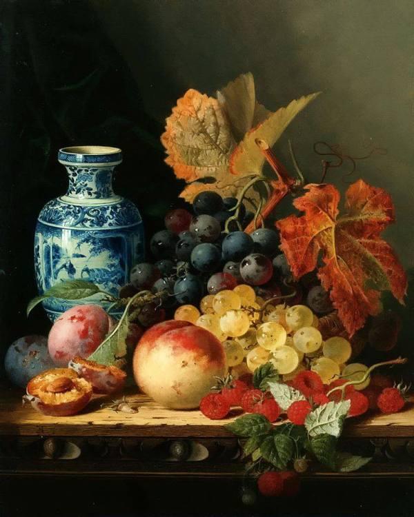 Натюрморт с китайской вазой и фруктами. Эдвард Ладелл (1821-1886), британский художник