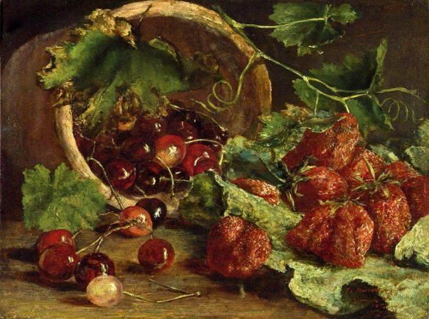 Натюрморт с клубникой и вишнями, 1863. Johan Cornelis Jan Neervoort, бельгийский художник