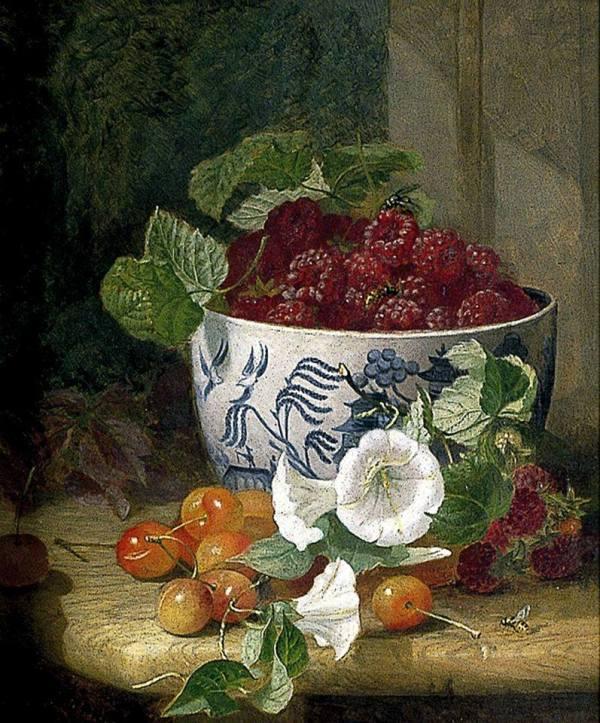 Натюрморт с малиной, черешней и вьюнком, 1890. Холст, масло. Элоиза Гарриет Стэннард (1829-1915) - английская художница