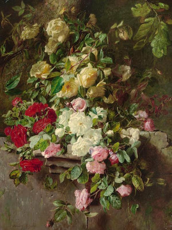 Натюрморт с розами, падающими на каменный выступ, 1875. Адриана Йоханна Хаанен (1814-1895), голландская художница