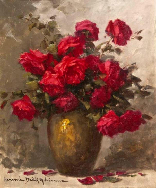 Натюрморт с розами. Адриенн Хенчне Деак (1890-1956), венгерский художник
