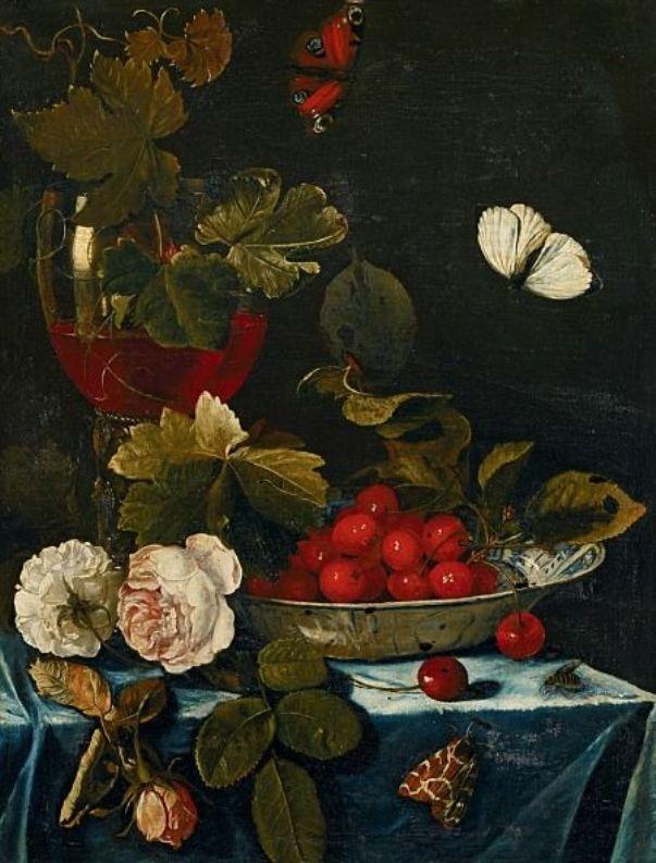 Натюрморт с розами и вишнями в китайской чаше. Хармен Лодинг (ок. 1637 - после 1673) голландский художник