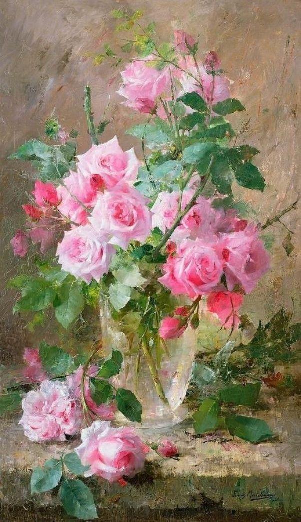 Натюрморт с розами в стеклянной вазе