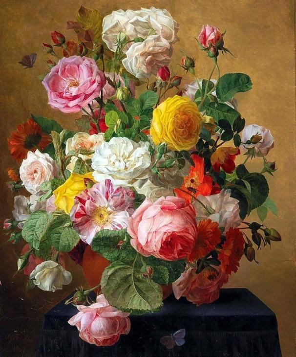 Натюрморт с розами в вазе, 1847. Агата Пилон (1777-1847), французский художник