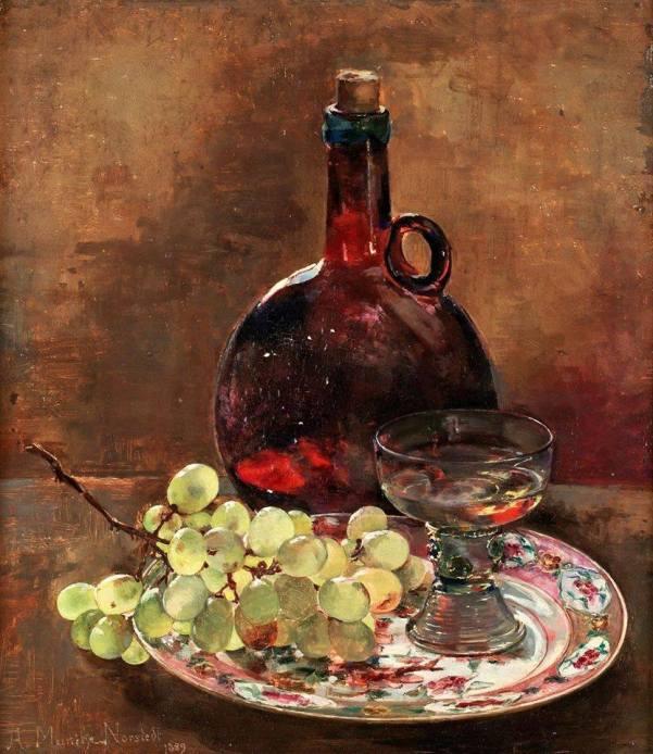 Натюрморт с виноградом и бутылкой, 1889. Анна Катарина Фредрика Мунте-Норстедт (1854 -1936), шведская художница, известная своими натюрмортами и интерьерами.