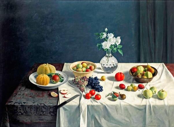 Натюрморт с фруктами и цветами. Хенк Хельмантель (1945 г.р.), голландский художник