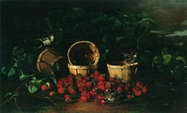 Натюрморт с клуюникой и воробьями. Эдвард Чалмерс Ливитт (1842–1904), американский художник
