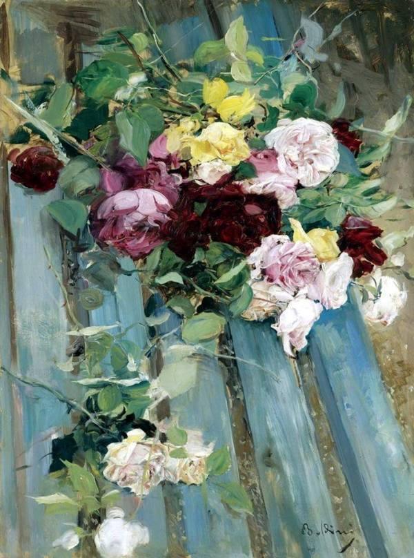 Натюрморт с розами. Джованни Болдини (итал. Giovanni Boldini; 1842-1931), итальянский живописец.
