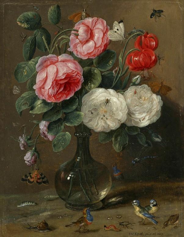 Натюрморт с розами в стеклянной вазе. Ян ван Кессель Старший (нидерл. Jan van Kessel; 1626—1679), южнонидерландский (фламандский) живописец.