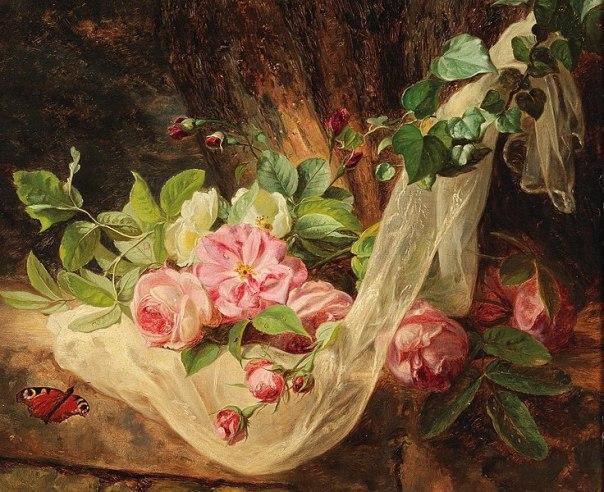 Натюрморт с розами на лесной подстилке. Андреас Лах (Andreas Lach, 1817–1882) австрийский художник. Частная коллекция