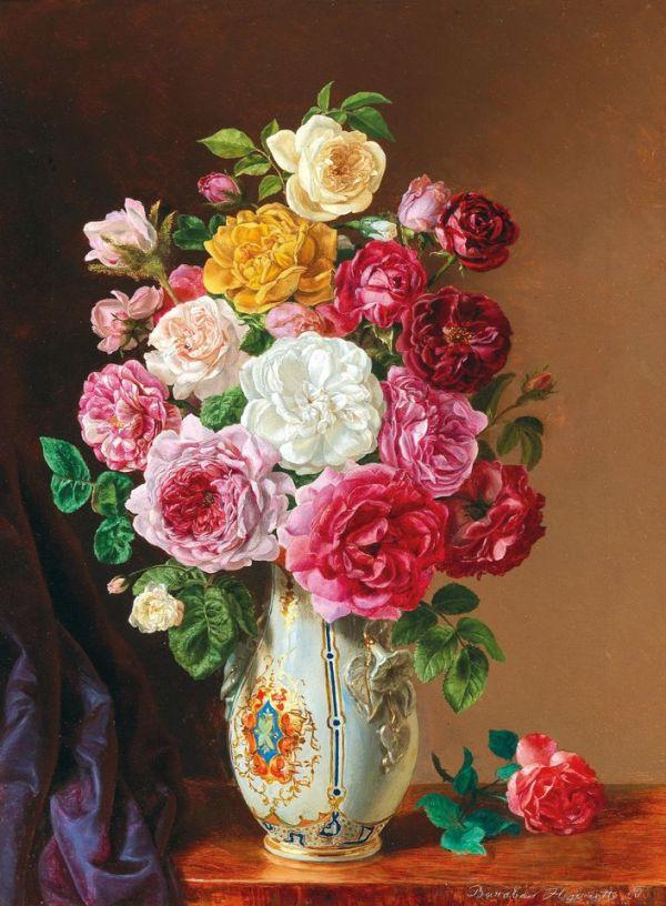 Натюрморт с розами в фарфоровой вазе. Генриетта Барабас (1842-1892), венгерская художница.