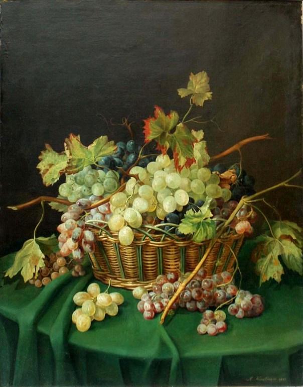 Натюрморт с виноградом в корзине. Антон Хартингер (1806-1890), австрийский художник