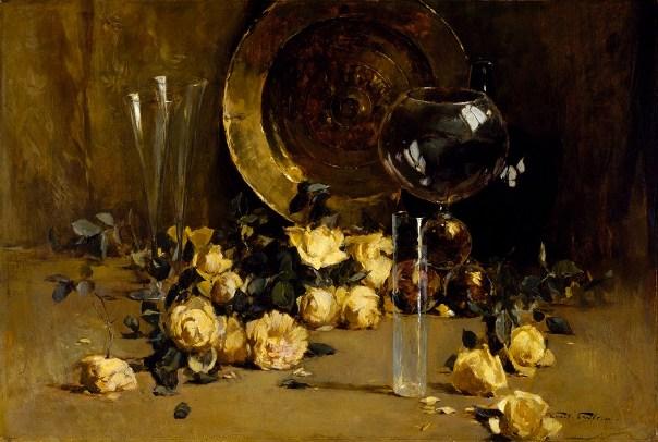 Натюрморт с желтыми розами, 1885. (Холст, масло. Эмиль Карлсен. Музей изящных искусств, Хьюстон