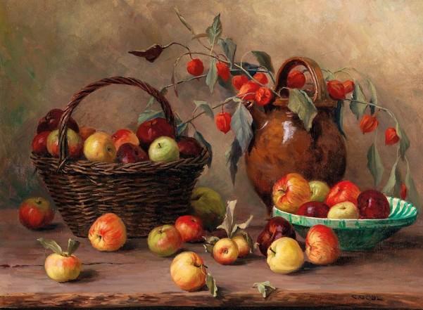 Осенний натюрморт с яблоками. Камилла Гёбль-Валь (нем. Camilla Göbl-Wahl, 1871-1965), австрийская художница