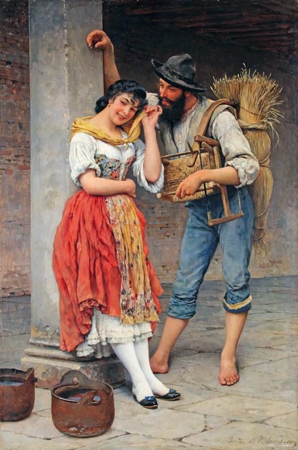 Паук и муха. Эжен де Блаас (итал. Eugenio de Blaas; 1843, Альбано-Лациале — 1932, Венеция), итальянский художник.