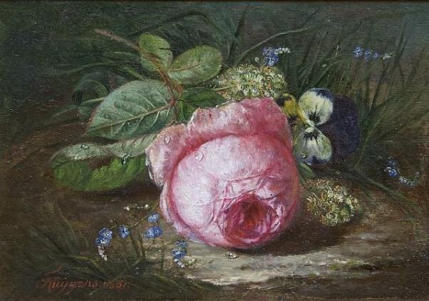 Роза и дикие цветы на лесной земле, 1861. Франсуа Жозеф Гюйгенс (1820-1908), бельгийский художник