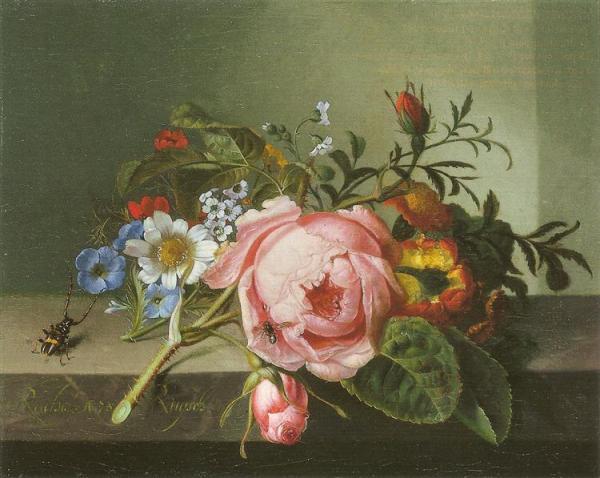 Роза и другие цветы с жуком на каменной балюстраде, 1741. Рэйчел Рюйш (1664-1750), мастер цветочных натюрмортов из Нидерландов.