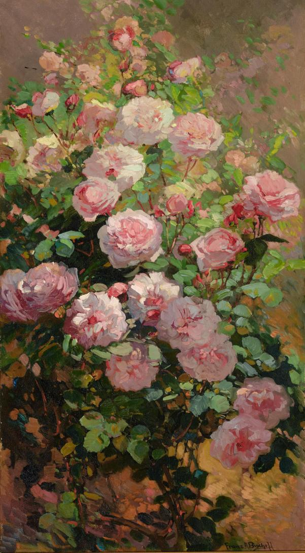 Розовые розы, залитые солнцем. Франц Артур Бишофф (Franz A. Bisсhoff, 1864-1929)