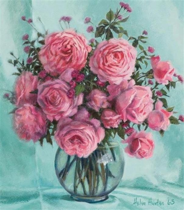 Розы, 1963, картон, масло. Хелен Хантер (1920-2003), американская художница