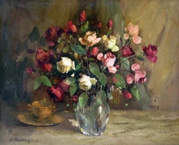 Розы. Холст, масло. Отто Пладерс (1897-1970), латышский художник