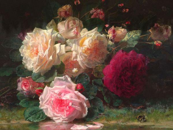 Розы. Жан-Батист Роби (1821-1910), бельгийский живописец, литератор.