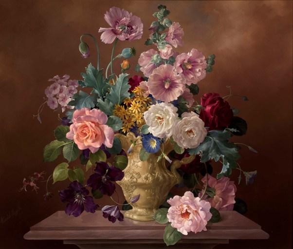 Розы, мальвы и маки в декоративном кувшине. Холст, масло. Гарольд Клейтон (1896-1979), английский художник