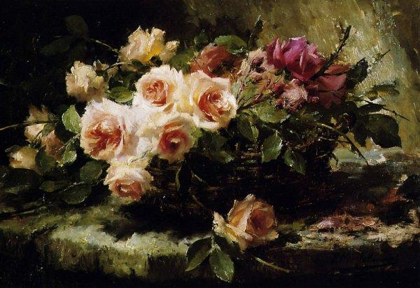 Розы в корзине на полке Франс Мортельманс (1865-1936)