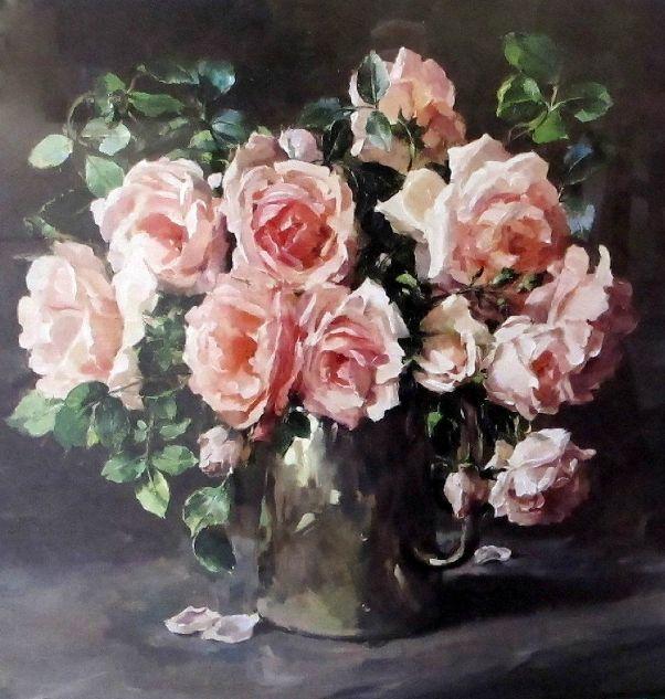 Розы в серебряном кофейнике. Энн Коттерилл (1933-2010), британская художница.