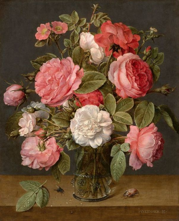 Розы в стеклянной вазе, ок. 1640-1645. Якоб ван Халсдонк (1582-1647), голландский художник. Королевская галерея Маурицхёйс - художественная галерея в Гааге, Нидерланды.