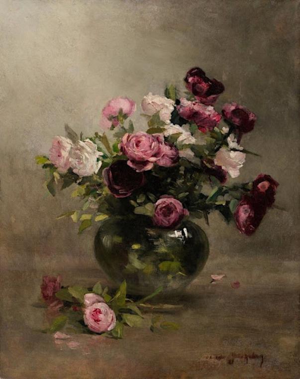 Розы в вазе, 1870. Ева Гонсалес (1849–1883), французская художница-импрессионистка. Частная коллекция