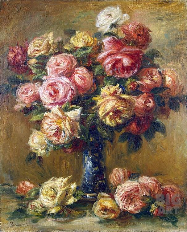 Розы в вазе, 1910. Пьер-Огюст Ренуар (1841-1919). Музей Эрмитаж, Санкт-Петербург