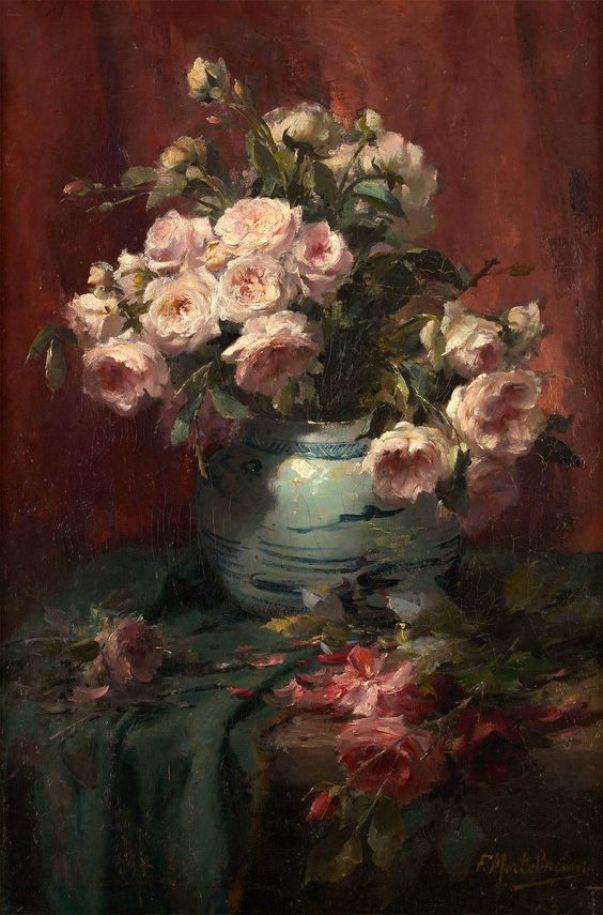 Розы в вазе. Франс Мортельманс (1865-1936), бельгийский художник, мастер натюрморта