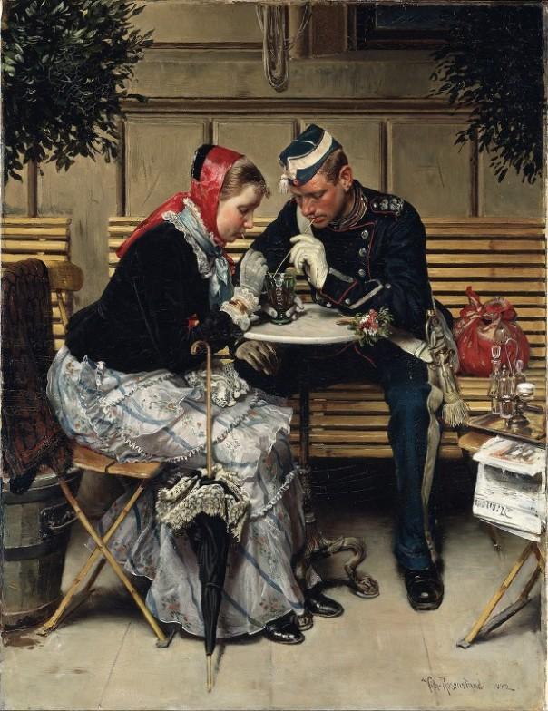 """Снаружи кафе """"Порта"""", Вильгельм Розенстенд (1838-1915), датский художник"""