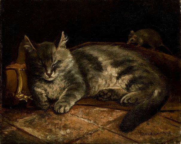 Спящий серый кот и крыса, 1864. Адольф фон Беккер