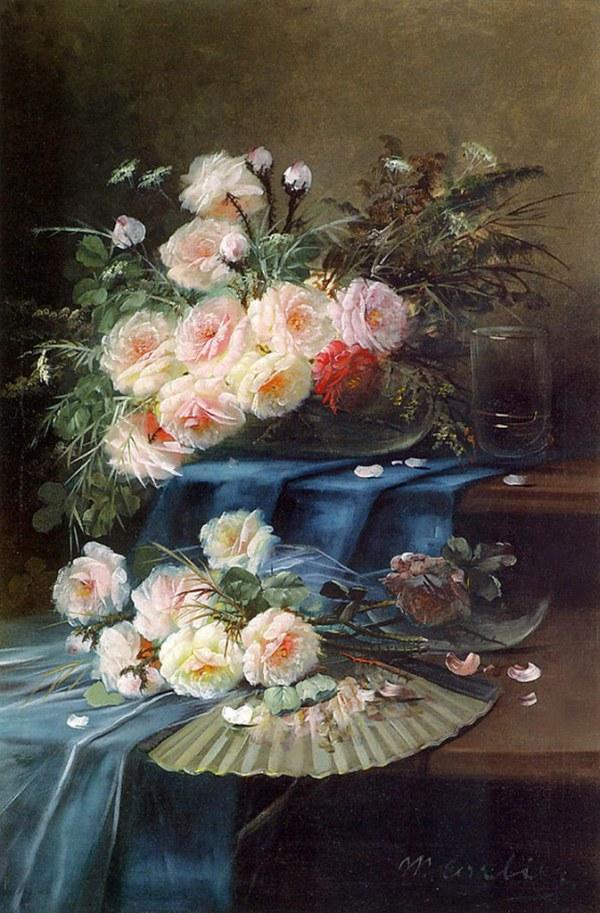Цветы, веер и стакан на драпированном столе. Макс Карлье (Max Carlier, 1872-1938), бельгийский художник