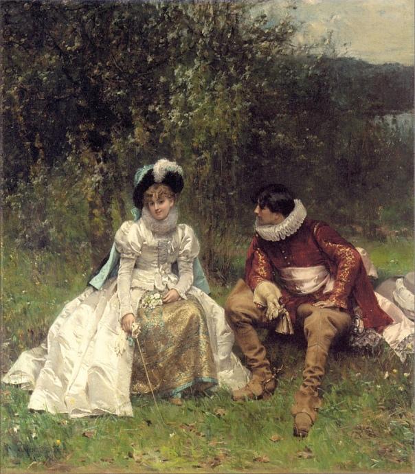 Ухаживание. Адриен Моро (1843-1906), французский художник