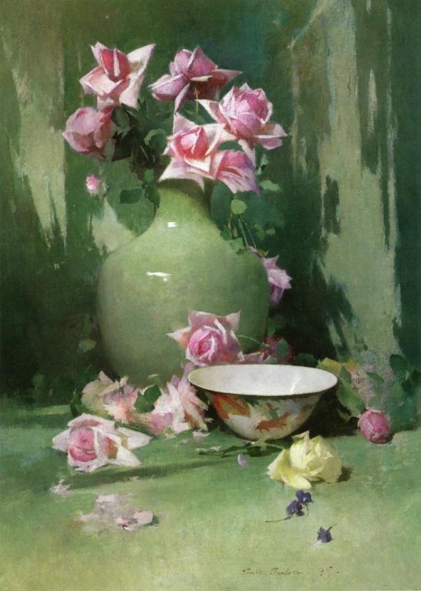 Ваза с розами. Эмиль Карлсен (дат. Søren Emil Carlsen; 1853-1932)