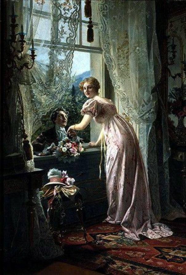 Влюблённые у окна, 1815. Иоганн Хамза (1850-1927), австрийский художник
