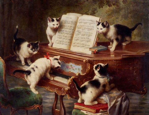 Сольный концерт котят, 1908. Масло на дереве. Карл Рейхерт (1836-1918), австрийский художник
